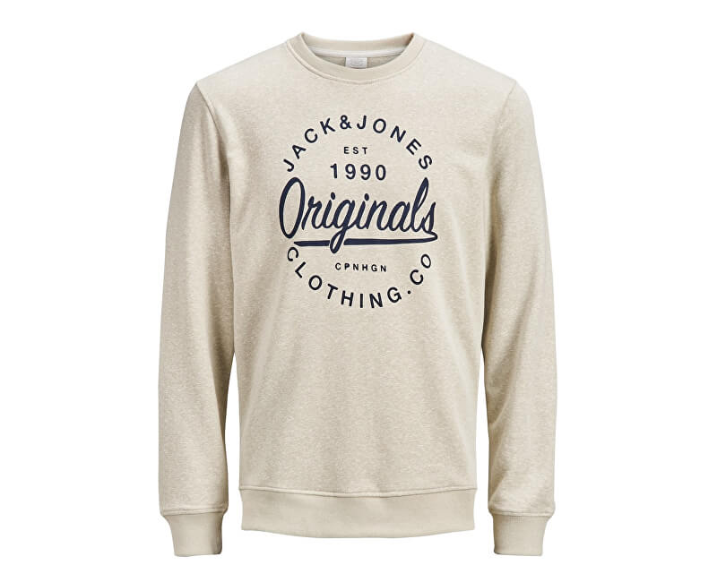 Jack&Jones Pánska mikina Jorbreeze Sweat Crew Neck Feather Gray