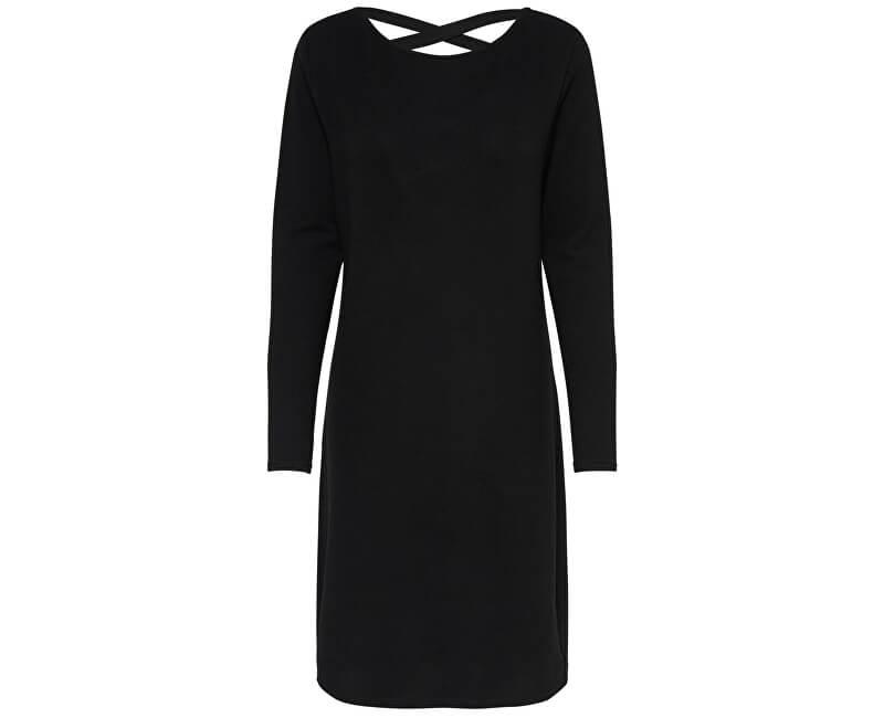 Jacqueline de Yong Dámske šaty Emily L / S Detail Dress Jrs Exp Black