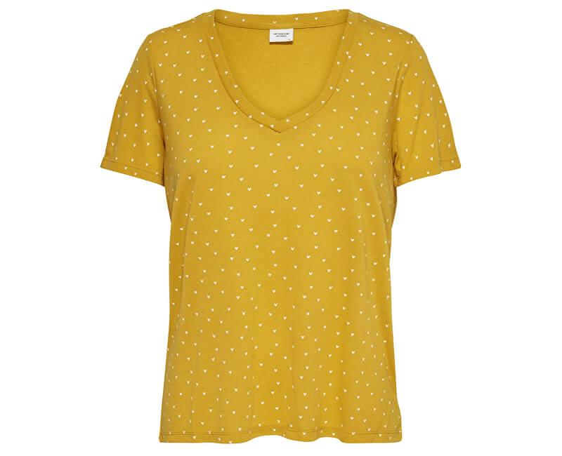 Jacqueline de Yong Tricou pentru femei Tricou S / S Aop V-Neck Jrs Noos Gold en Spice