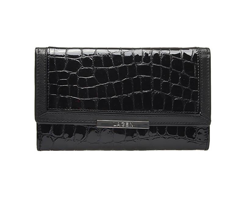 bb8b794c4381 Lagen Dámska čierna kožená peňaženka Black 614811
