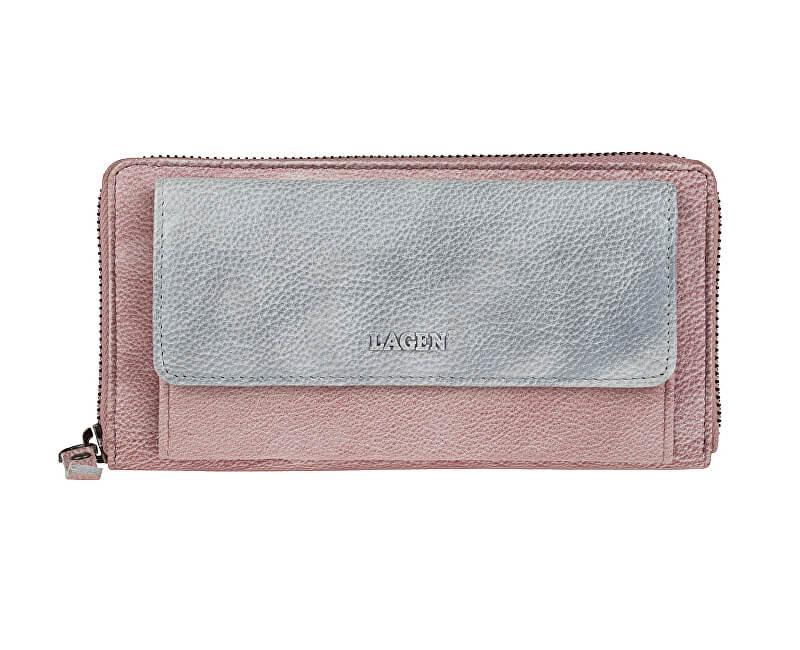 Lagen Dámská kožená peněženka 786-017 Plum/Silver