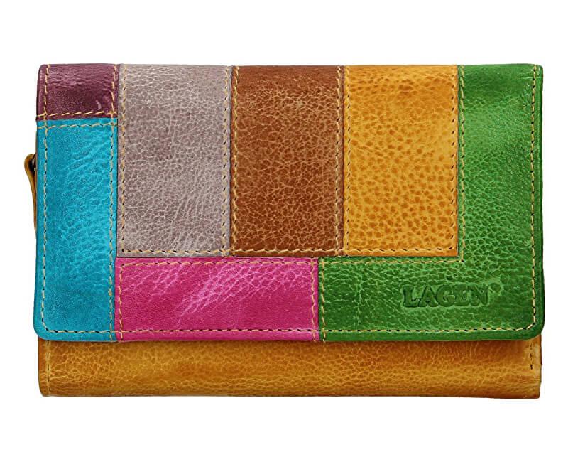 Lagen Dámska kožená peňaženka LG-11 / D Yellow / Multi