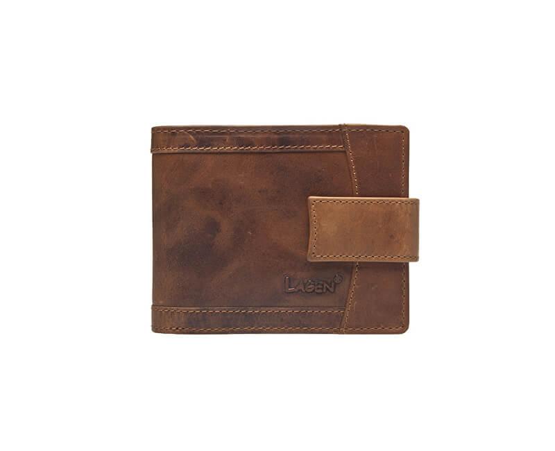 aaed5f62a17f Lagen Pánska hnedá kožená peňaženka Brown V-06   V