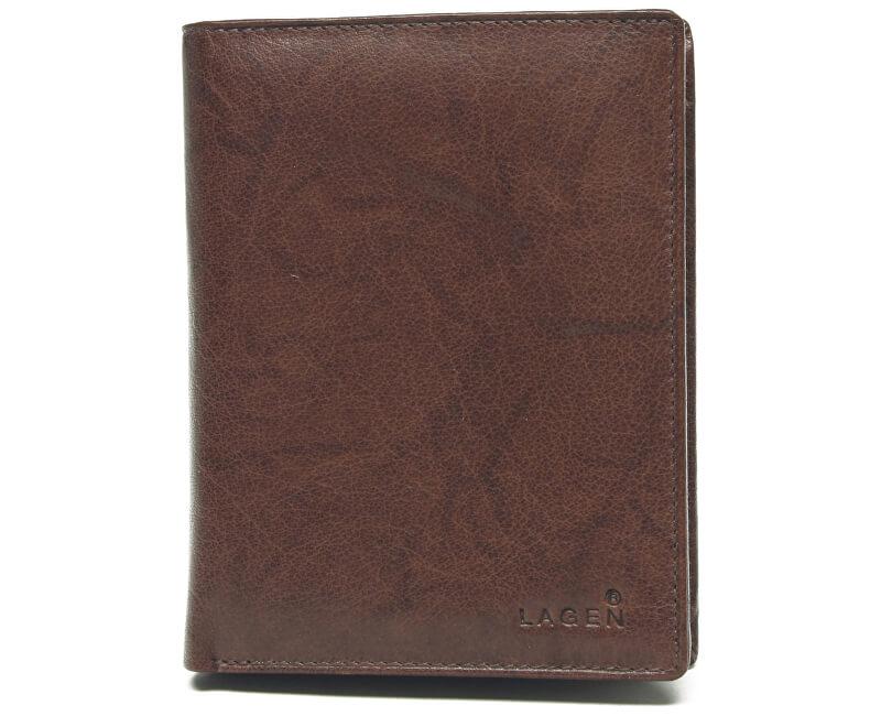 ae2eb7509deb Lagen Pánska kožená hnedá peňaženka Brown V-2