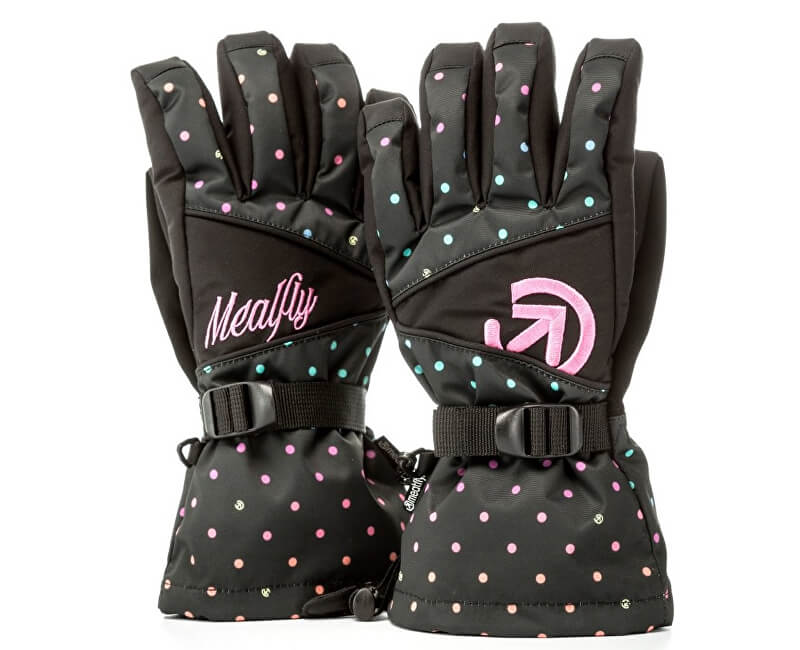 Meatfly Dámské prstové rukavice Destiny Gloves A - Rainbow Black Dot Print