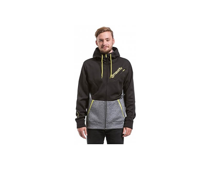 Meatfly Mikina Polygon 2 Technical Hoodie D - Black/Heather Grey
