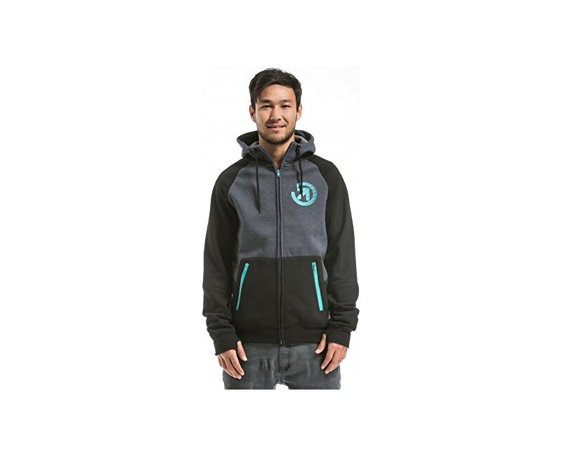 Meatfly Mikina Twitch 2 Technical Hoodie A - Black/Charcoal Heather