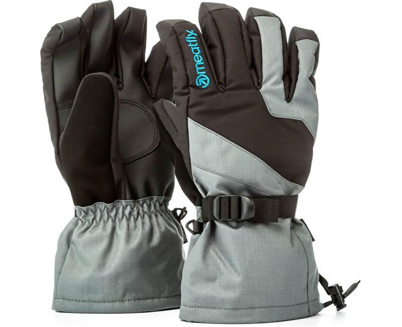 Meatfly Pánské prstové rukavice Agent Gloves A - Grey/Black/Blue