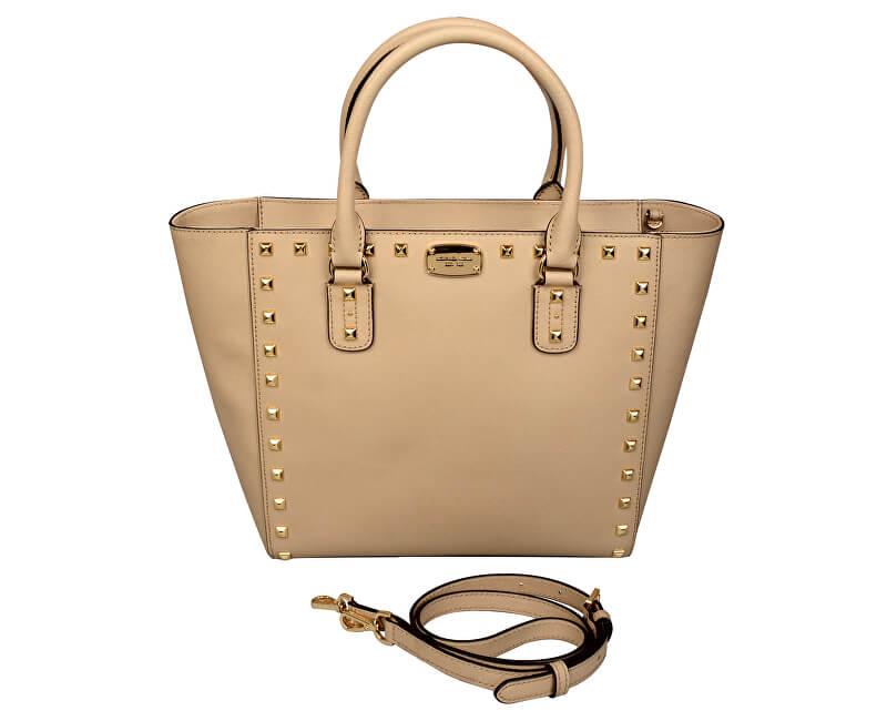 185cc3f09d Michael Kors Luxusná kožená kabelka Sandrine Stud Saffiano Leather Studded  Large Tote Bag - Beige