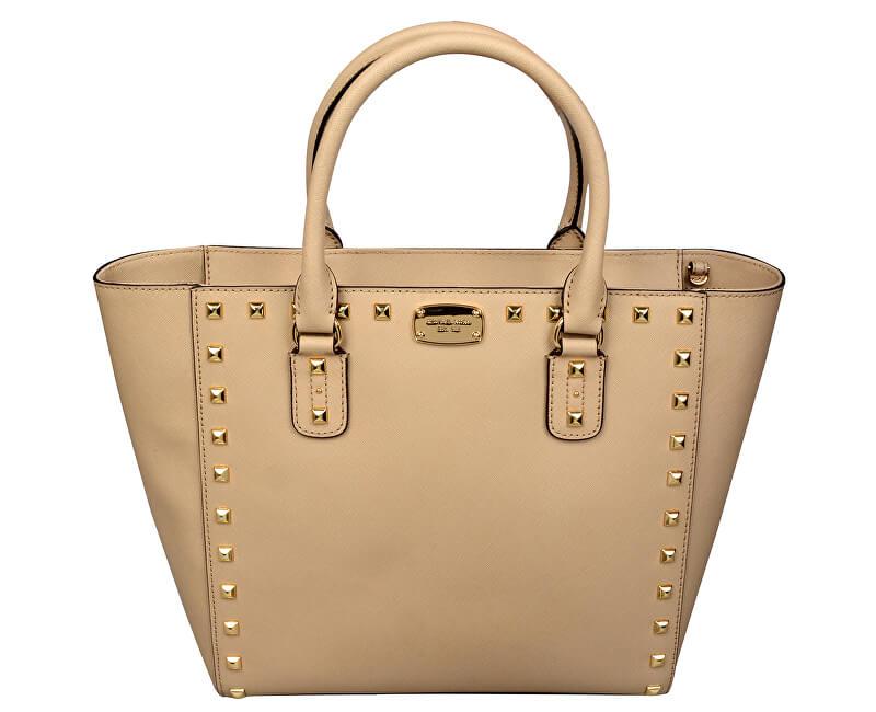 ... italy michael kors luxusná koená kabelka sandrine stud saffiano leather  studded large tote bag beige 9e812 9e040414baf