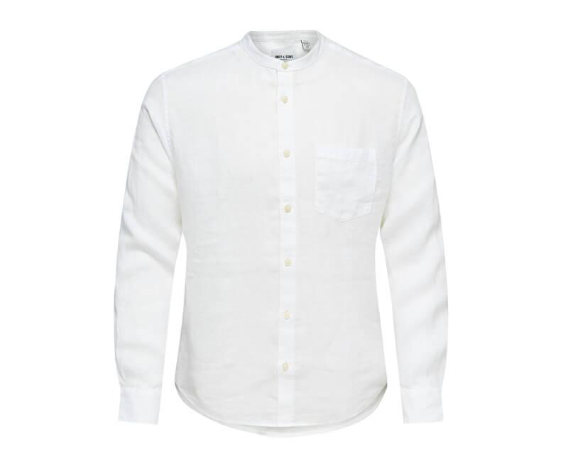 ONLY&SONS Pánska košeľa Luke LS Linen Mandarine Shirt
