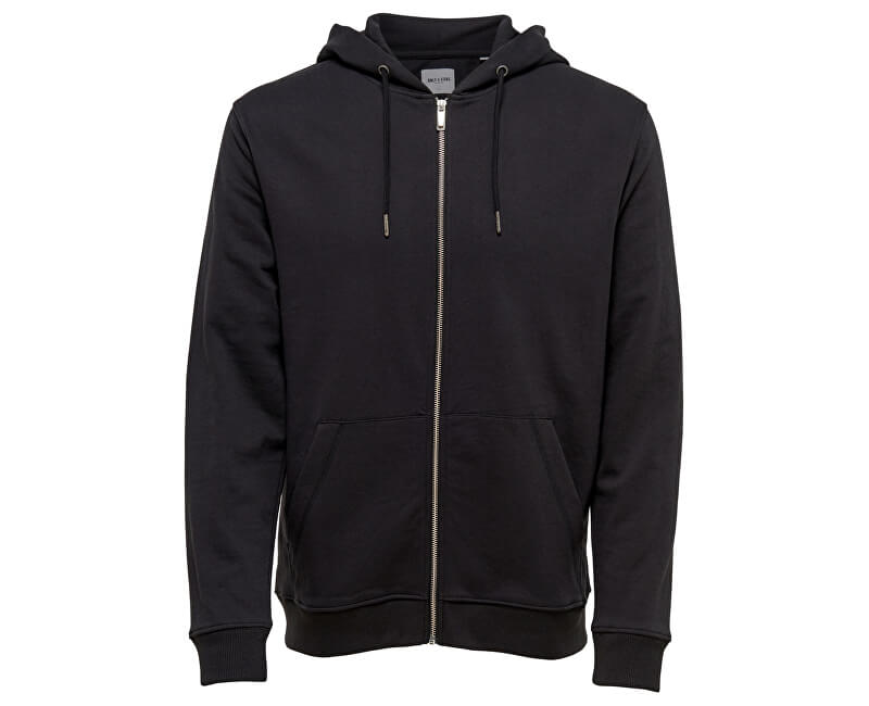 ONLY&SONS Pánska mikina Basic Sweat Zip Hoodie Brushed Noos Black