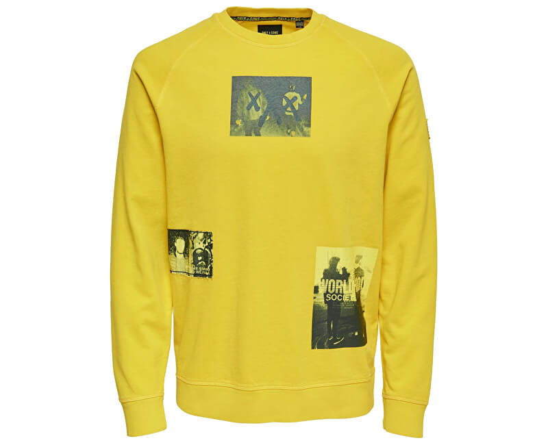 ONLY&SONS Pánska mikina Wuk Crew Neck Sweat Spectra Yellow