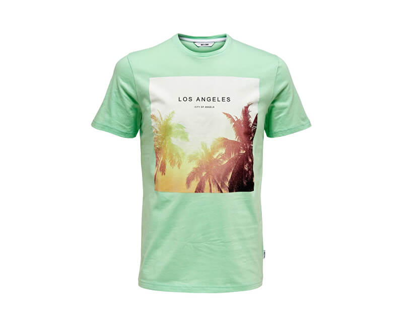 ONLY&SONS Pánske tričko Lamani Camp SS Fitted Tee Grayed Jade