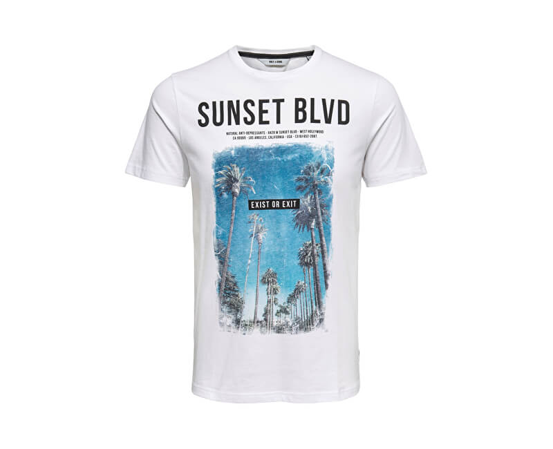 ONLY&SONS Pánske tričko Lamani Camp SS Fitted Tee White