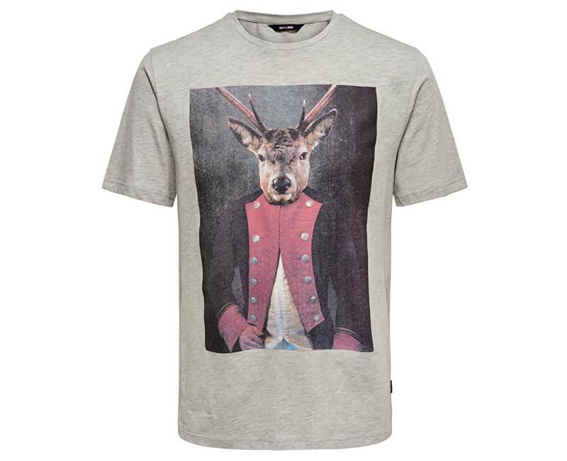 ONLY&SONS Shirt pentru bărbați ONSBURNEY SS FUNNY TEE Light Grey Melange