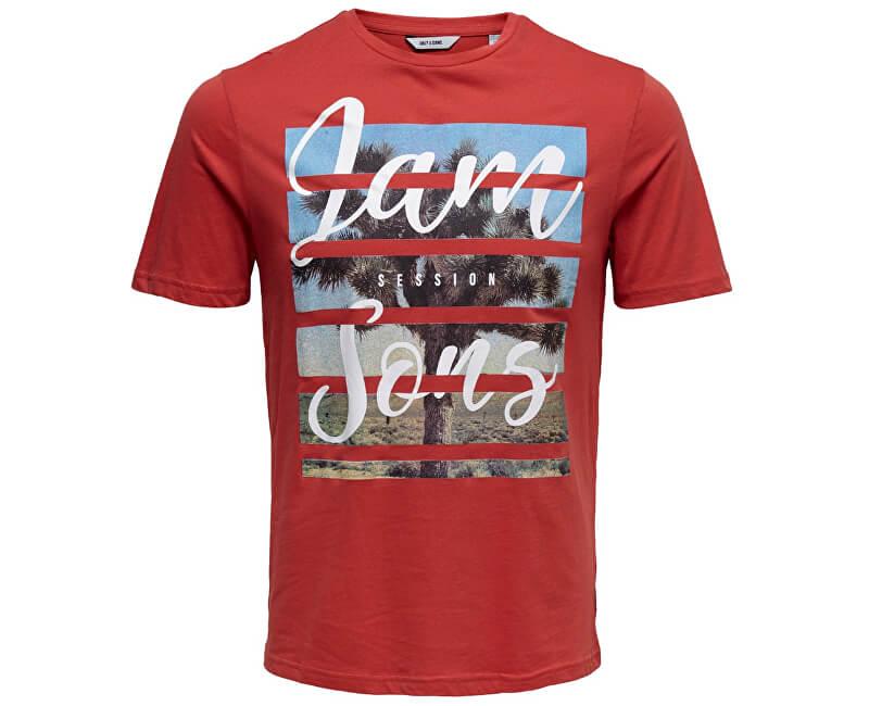 147626330fab ONLY SONS Pánske tričko Pacifica Ss Fitted Tee Camp Cranberry Novinka