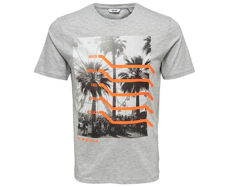 ONLY&SONS Pánske tričko Petal Ss Fitted Tee Camp Light Grey Melange