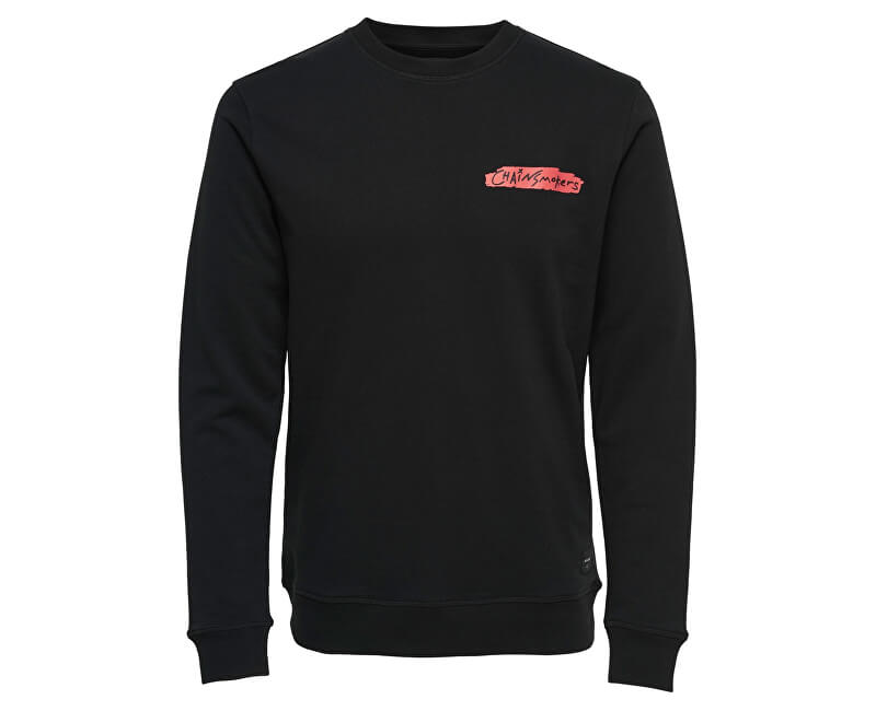 ONLY&SONS Pánska mikina Chainsmoker Crew Sweat Black