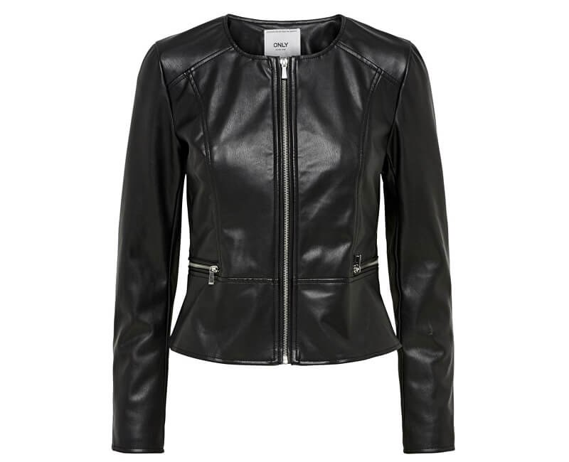 ONLY Dámska bunda Mona Faux Leather Jacket Otw Black