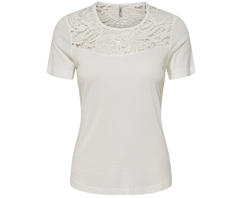 ONLY Dámska blúzka Alba S/S Crochet Mix Top Jrs Cloud Dancer