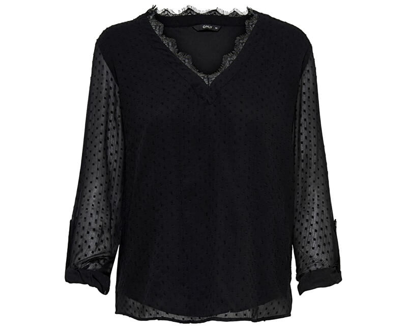 ONLY Bluza de damă ONLMACY L/S FOLD UP TOP WVN Black