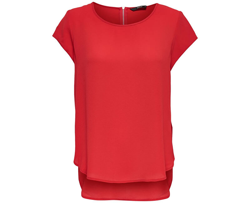 ONLY Dámska blúzka Vic S/S Solid Top Noos Wvn High Risk Red