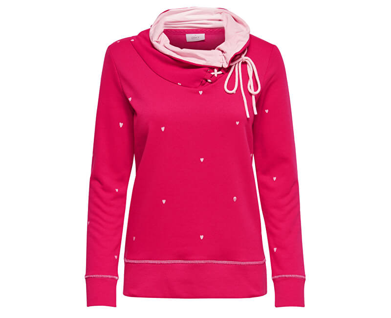 ONLY Dámska mikina New Nadine L/S Highneck Swt Rose Red