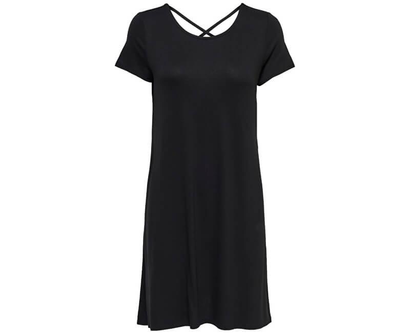 ONLY Dámske šaty Bera Back Lace Up S/S Dress JRS Noosa Black