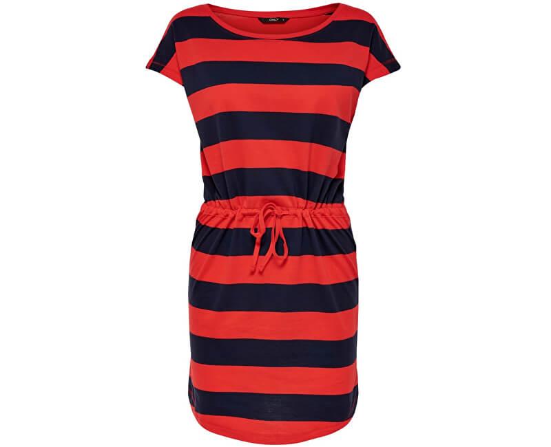 ONLY Dámske šaty May S/S Dress Noos Night Sky Block High Rish Red
