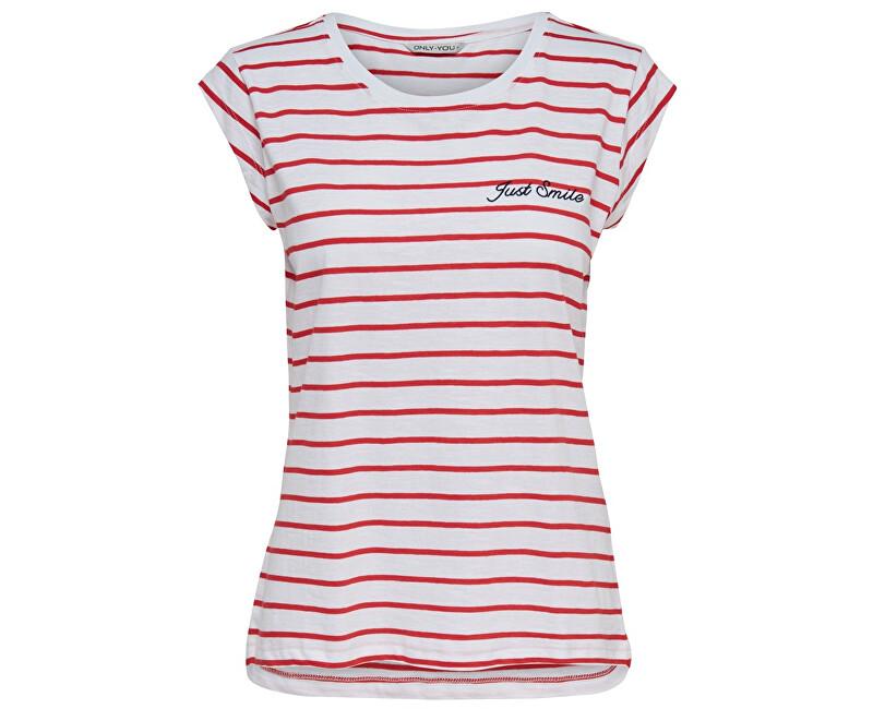ONLY Dámske tričko Ybine S/S Top Box Jrs Bright White Flame Scarlet
