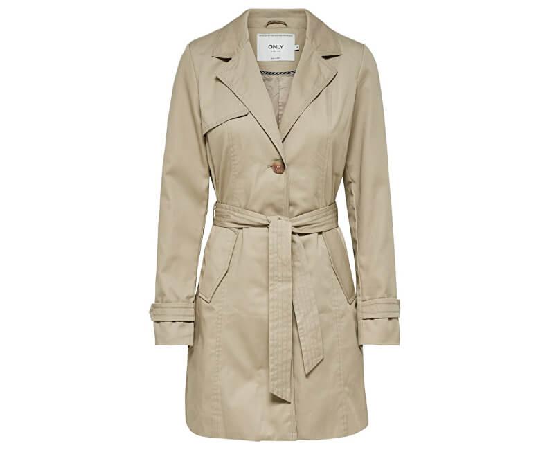 ONLY SLEVA I - Dámský kabát Finesse Long Trenchcoat Otw Humus