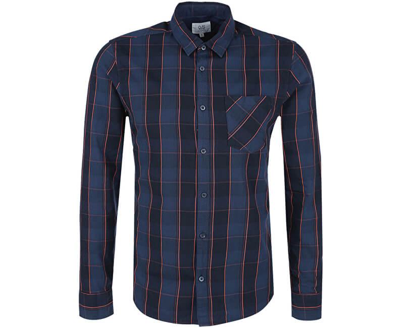 9c75d39543b8 Q S designed by Pánska modrá kockovaná košeľa extra slim fit Výpredaj