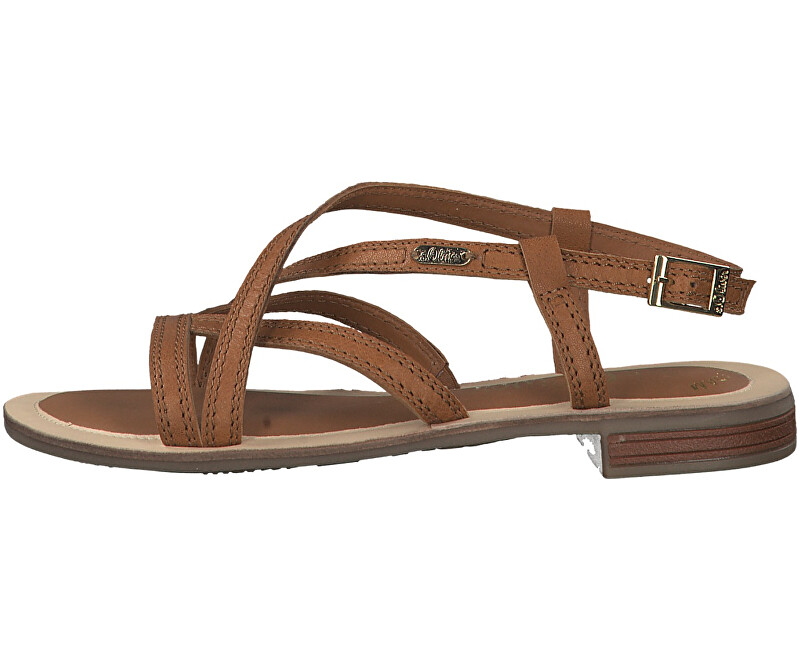 S.Oliver Dámske kožené sandále Cognac 5-5-28120-22-305