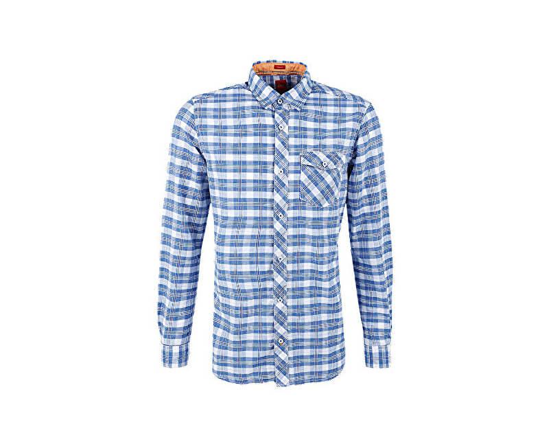 0686df56cdc S.Oliver Pánská modro-bílá kostkovaná košile Regular Fit