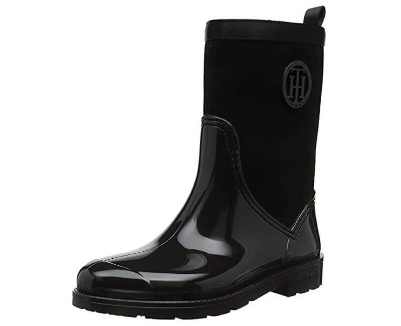 Tommy Hilfiger Dámske gumáky Warmlined Suede Rain Black FW0FW03976-990