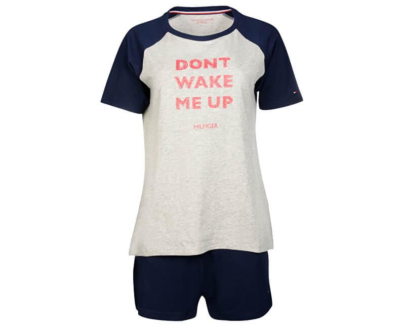 Tommy Hilfiger Dámské pyžamo Cotton Iconic Set Ss Slogan UW0UW00371-001 Grey Heather/Navy Blazer