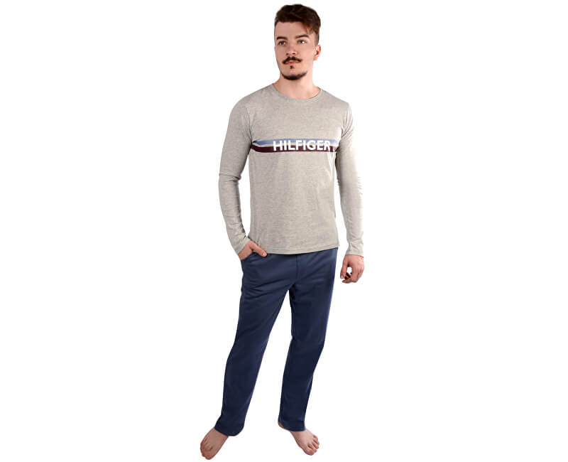 Tommy Hilfiger Pánské pyžamo Cotton Icon Set Ls Logo UM0UM00469-097 Grey Heather/Vintage Indigo