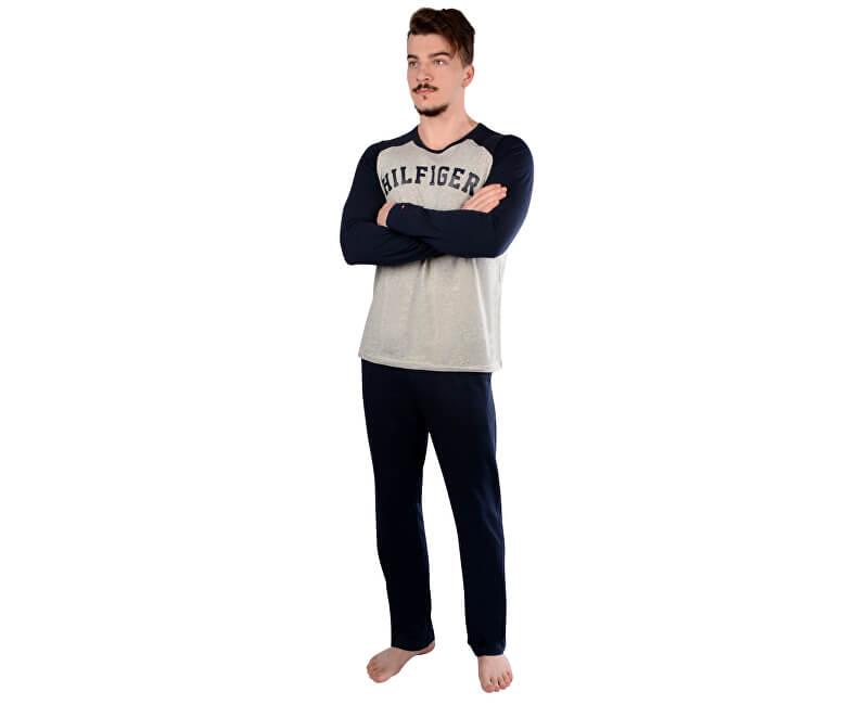 Tommy Hilfiger Pánské pyžamo Set Ls Raglan Cotton Icon UM0UM00269-001 Grey Heather/Navy Blazer
