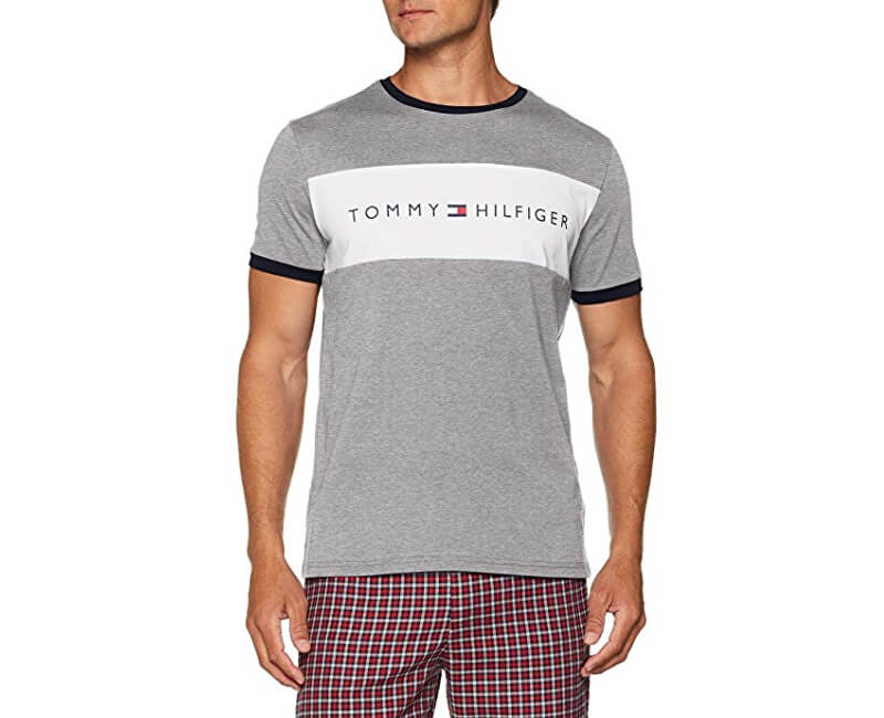 73973b838 Tommy Hilfiger Pánske tričko Cotton Icon Rn Tee Ss Logo Grey Heather  UM0UM00963 -004