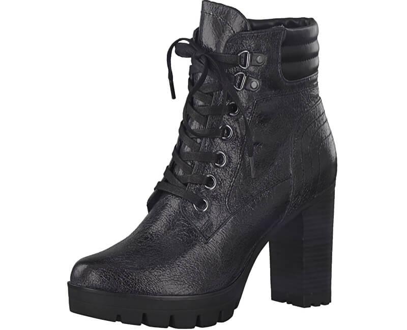 Tamaris Elegantní dámské kotníkové boty 1-1-25741-39-052 Black Crack