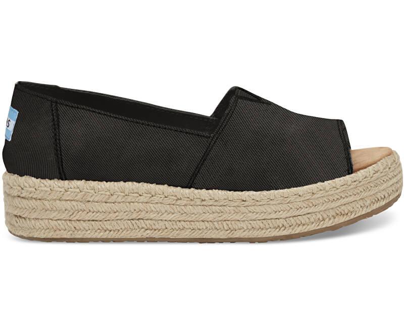 TOMS Ladies Sandals Negre pe Open Toe Platform Alpargata Black spălată Open Toe Platform Alpargata s