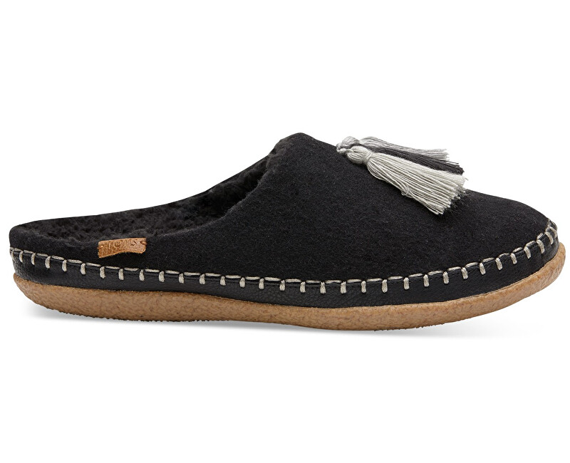 TOMS Dámské černé pantofle Blk Wool/Tassels Ivy