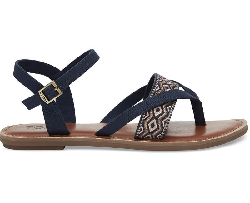 TOMS Sandale cu curelușe albastre întunecat Navy Canvas Embroidery Lexie Sandals