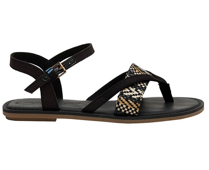 TOMS Dámske sandále Black Canvas/Geometric Woven Lexie