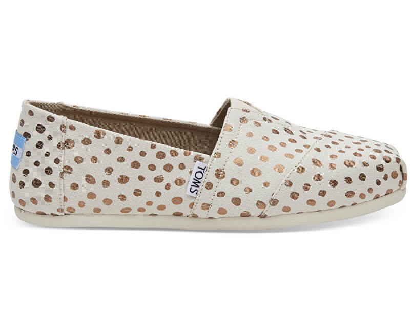 TOMS Dámské Slip-On Rose Gold/Natural Canvas Dots Alpargata