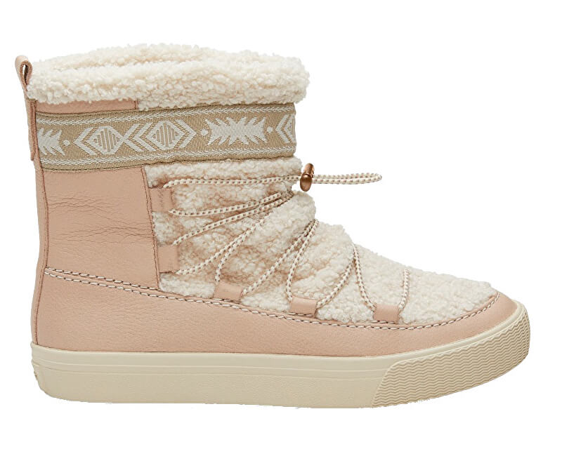 TOMS Dámské sněhule Dark Blush Leather/Faux Shearling