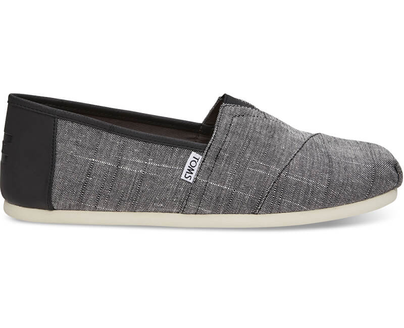 TOMS Pánské Slip-On Black Textured Chambray/Trim Alpargata