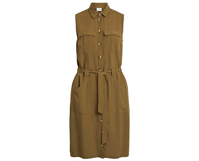 Vila Dámske šaty Viamona S/L Dress Dark Olive