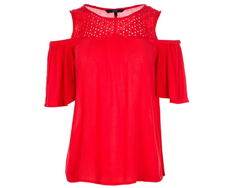 Vero Moda Dámska blúzka Mia Cold Shoulder Top Poppy Red